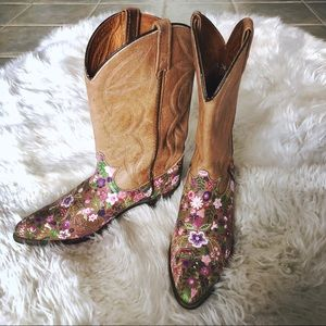 Hand Painted Floral Cowboy Boots
